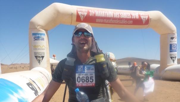 Die Marathonetappe beim Marathon des Sables - Udo im Ziel